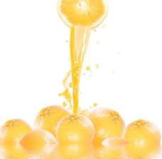 动感橙汁水柱水滴图片