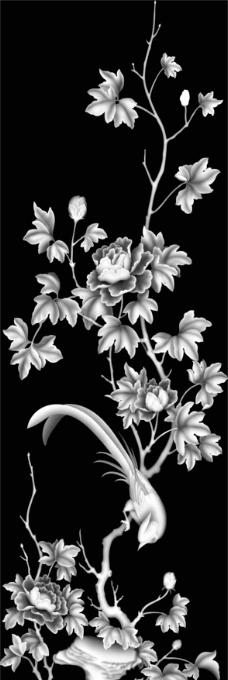 雕刻专用春天 春夏秋冬 花鸟山水 精雕灰度图图片