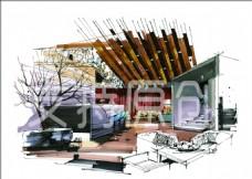 手绘 室内装修 景观效果图