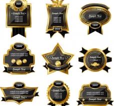 金色黑底欧式标签lable图片