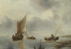 帆船 船舶 海面 油画 风景油画图片