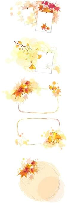 枫叶 树叶 枯黄 银杏叶 边框图片