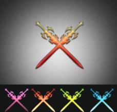宝剑 双剑 水晶Logo 设计图片
