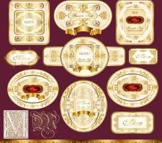 欧式金色花纹花边框 标签图片