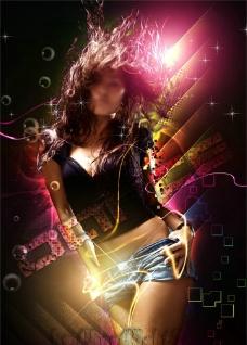 炫丽女孩海报图片