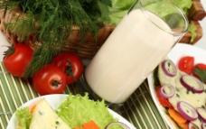 西红柿 番茄 牛奶 豆浆 蔬菜 早餐图片