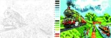 火车 数字 油画图片