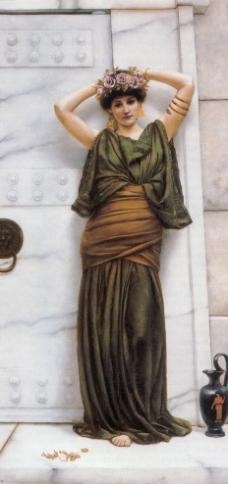 头戴花环的女子图片
