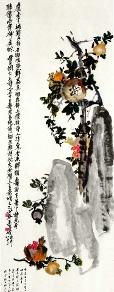 吴昌硕国画 石榴图片