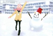女孩和雪人壁纸图片