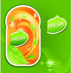新鲜多汁的水果标签图片