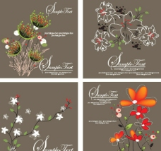 手绘花卉花纹矢量素材图片