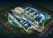 城市广场商业中心夜景效果图PSD分层素材图片