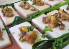 金带冬茸蒸豆腐图片