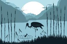日落湖中丹顶鹤图片
