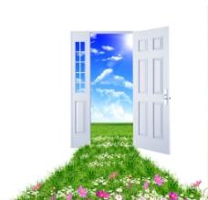 通往蓝天白云草地的门图片