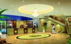 花溪戏水温泉娱乐中心门厅接待效果图图片