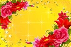 鲜花背景相框图片