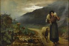 女孩儿和绵羊图片