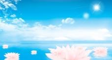 蓝色荷花背景图片