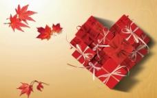 枫叶和爱心礼盒图片