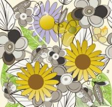 手绘花纹花朵梦幻花纹底纹图片