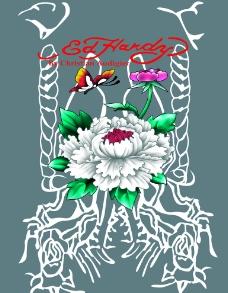 牡丹花T恤图案图片