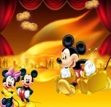 米奇老鼠和喜庆背景图片
