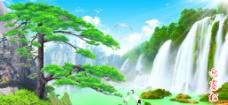 迎客松 山水画 风景画图片