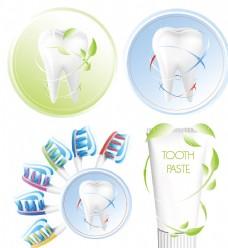 动感线条绿叶牙齿牙刷
