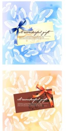 夢幻絲帶蝴蝶花紋背景圖片