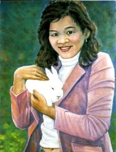 抱白兔的姑娘圖片